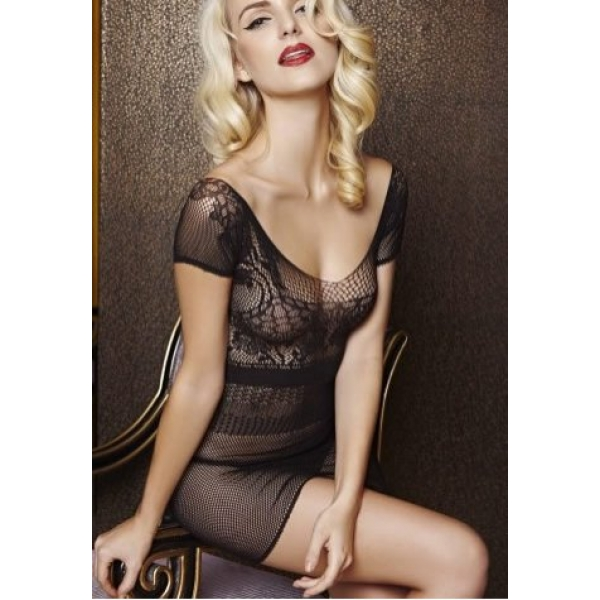 **CELLY** IMPORTED BLACK V-SHAPED LACE STOCKING