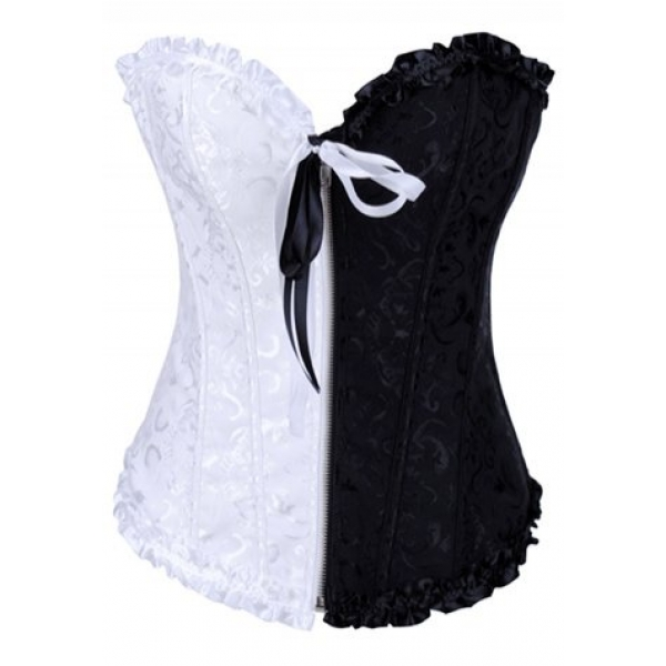 **CELLY** IMPORTED BLACK AND WHITE JACQUARD TAPESTRY CORSET