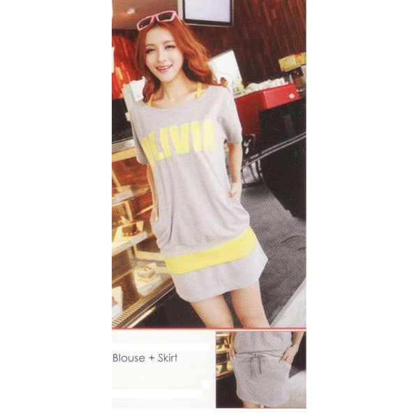 **CELLY**IMPORTED BLOUSE + SKIRT (GREY)