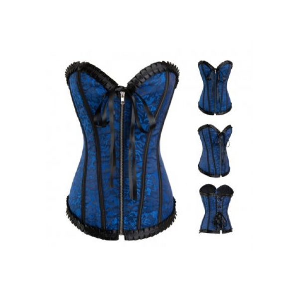 **CELLY**Imported Blue trimming lace overlay corset