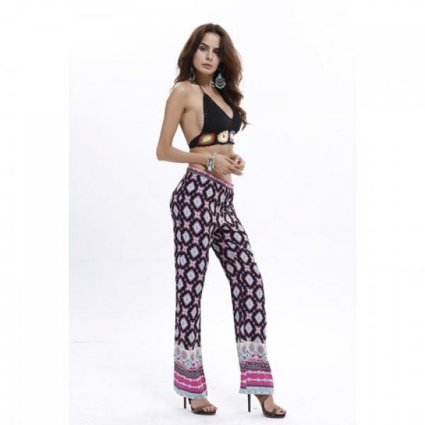 **CELLY**IMPORTED BOHO CONTRAST DIGITAL PRINT FLARED PANTS