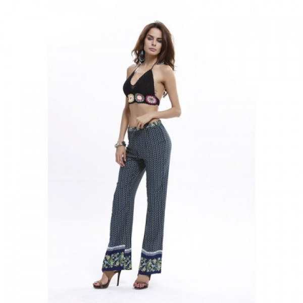 **CELLY**IMPORTED BOHO DENSE LEAVES PRINT CASUAL PANTS