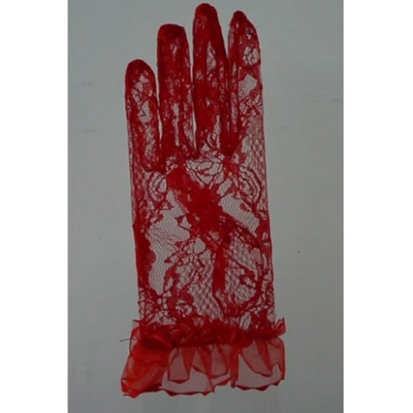 **CELLY** IMPORTED BRIDAL SHEER MESH WRIST GLOVE (RED)