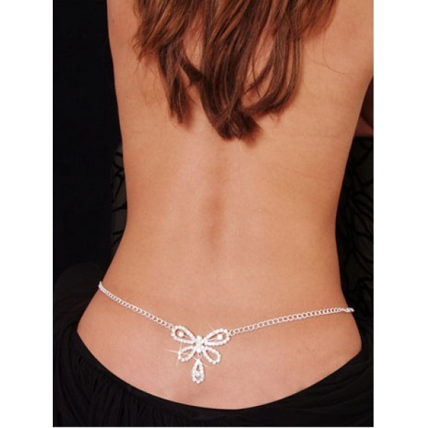 **CELLY** Imported Butterfly Rhinestone Belly Chain Silver