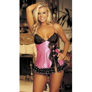 **CELLY** Imported Charmeuse and Black Lace Babydoll