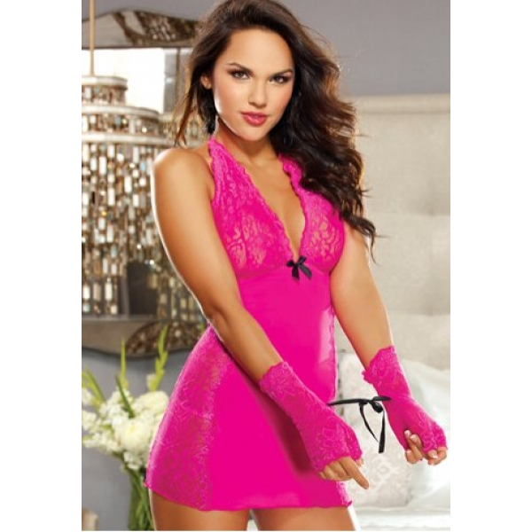 **CELLY** IMPORTED CHARMING MIDNIGHT AFFAIR CHEMISE WITH LACE EMBROIDE..