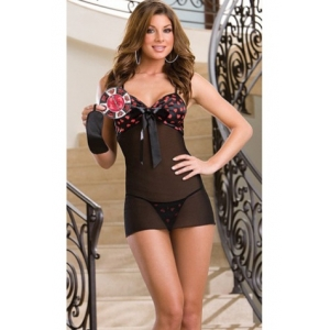 **CELLY** Imported Chiffon Babydoll With Hearts Print Bra Top
