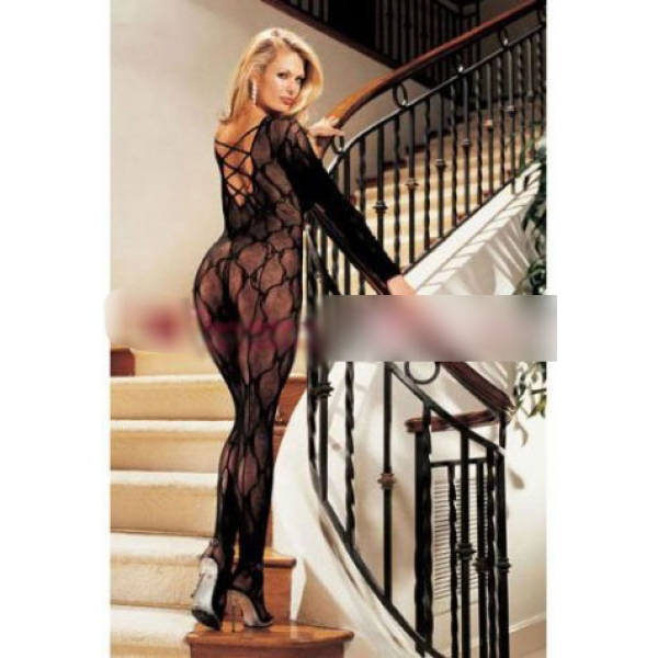 **CELLY** Imported Criss Cross Back Bow Lace Body Stocking
