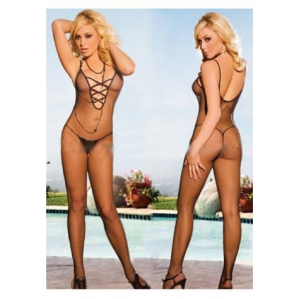 **CELLY** Imported Criss Cross Elastic Bodystocking (Middle Net)