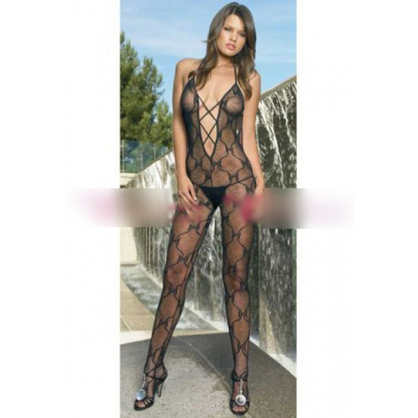 **CELLY** Imported Criss Cross Front Bow Lace Body Stocking