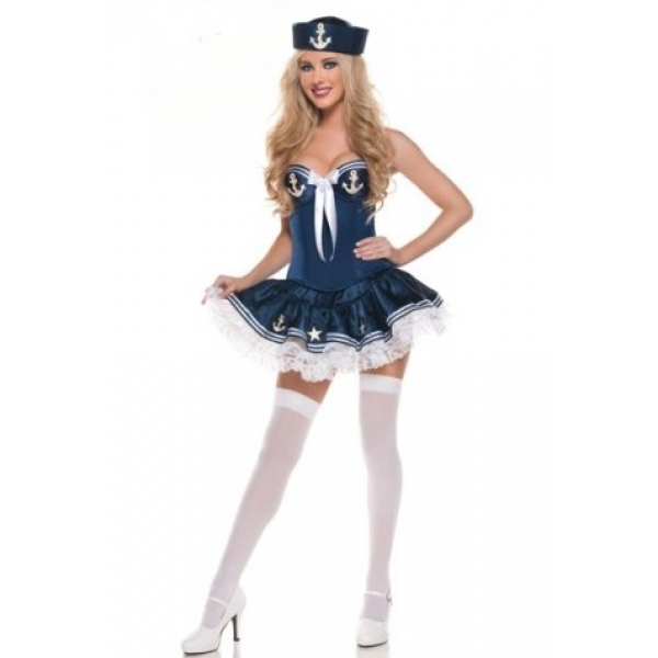 **CELLY**IMPORTED DARK-BULE SAILOR COSTUME WITH WHITE KNOT