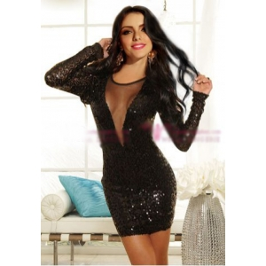 **CELLY** Imported Deep V Long Sleeve Clubwear with Stylish Sequins