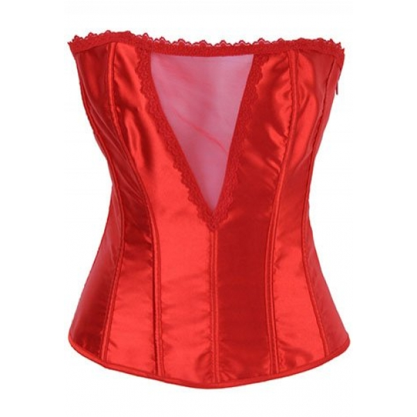 **CELLY** IMPORTED DEEP V RED SATIN STRAPLESS CORSET