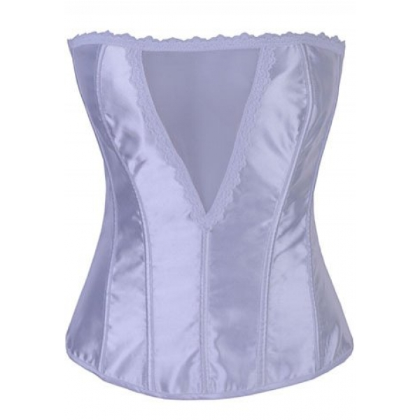 **CELLY** IMPORTED DEEP V WHITE SATIN STRAPLESS CORSET