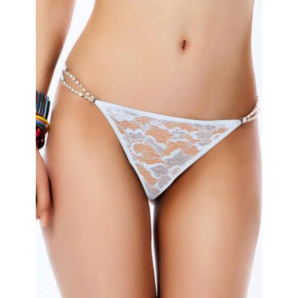 **CELLY** IMPORTED DIAMOND CHARM LACE G STRING (WHITE)