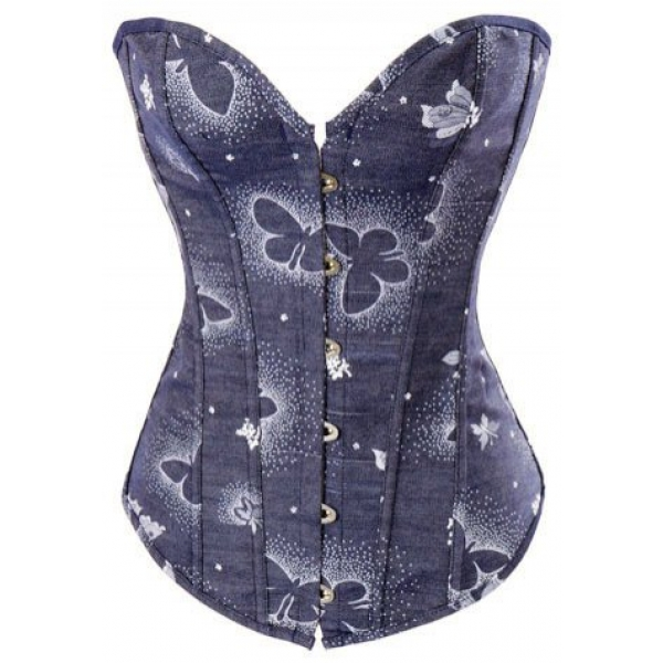 **CELLY** IMPORTED DREAM BUTTERFLY PRINTED DENIM CORSET
