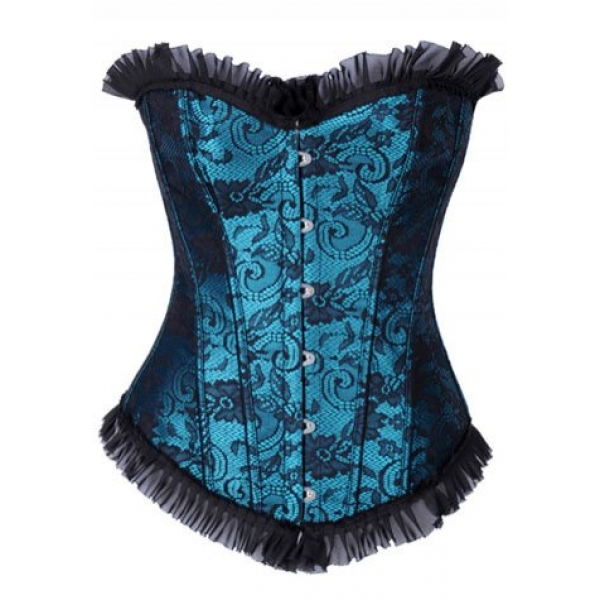 **CELLY** IMPORTED EMBROIDERED CORSET WITH LACE RUFFLE TRIM