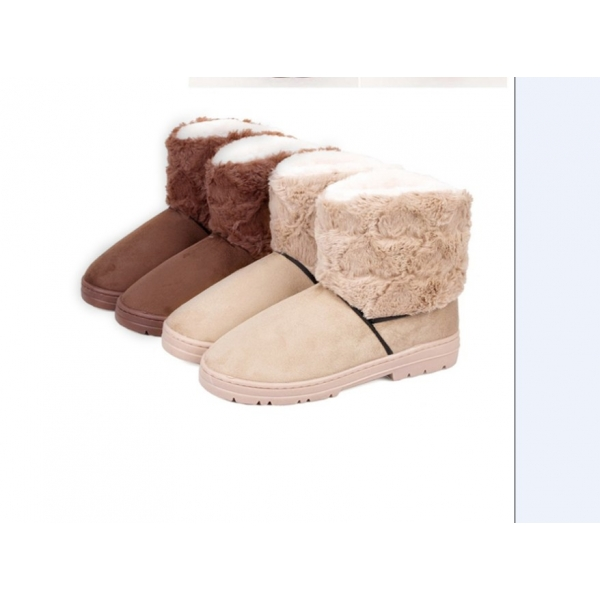 **CELLY**IMPORTED FASHION FUZZY SPLICING WARM BOOTS BEIGE