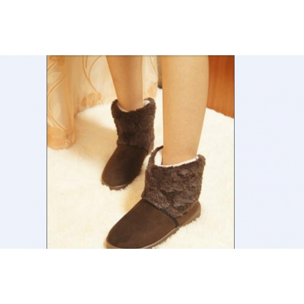 **CELLY**IMPORTED FASHION FUZZY SPLICING WARM BOOTS BROWN