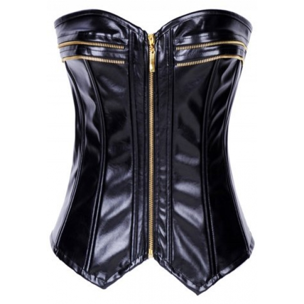 **CELLY** IMPORTED FAUX LEATHER ZIPPER CORSET