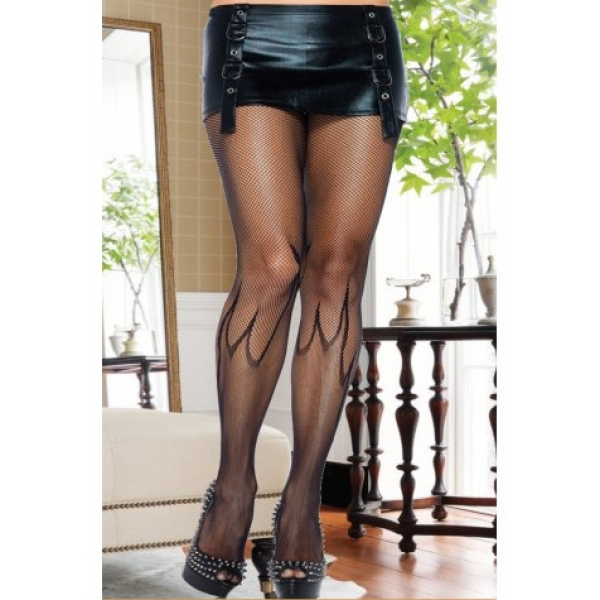**CELLY** IMPORTED FLAME PRINT FISHNET PANTYHOSE