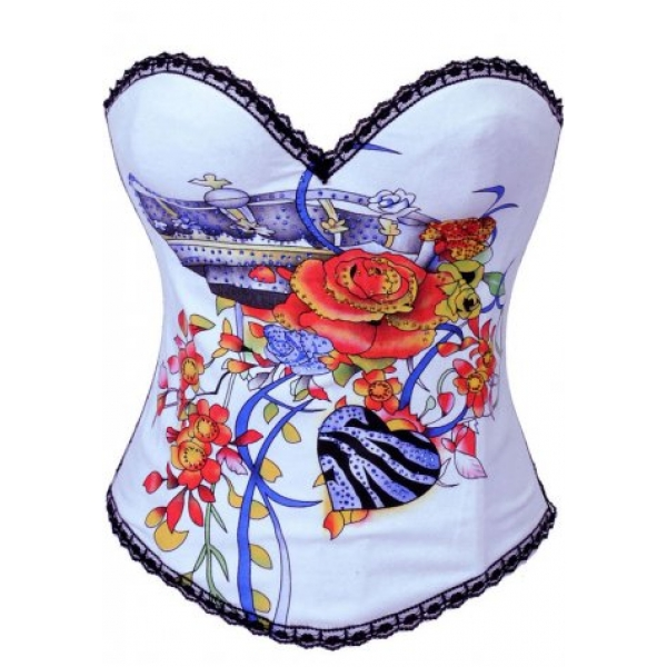 **CELLY** IMPORTED FLORAL AND BLUE HEART PRINTED CORSET