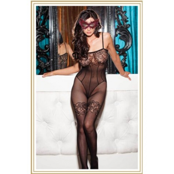 **CELLY** IMPORTED FLORAL LACE AND FISHNET BODYSTOCKING