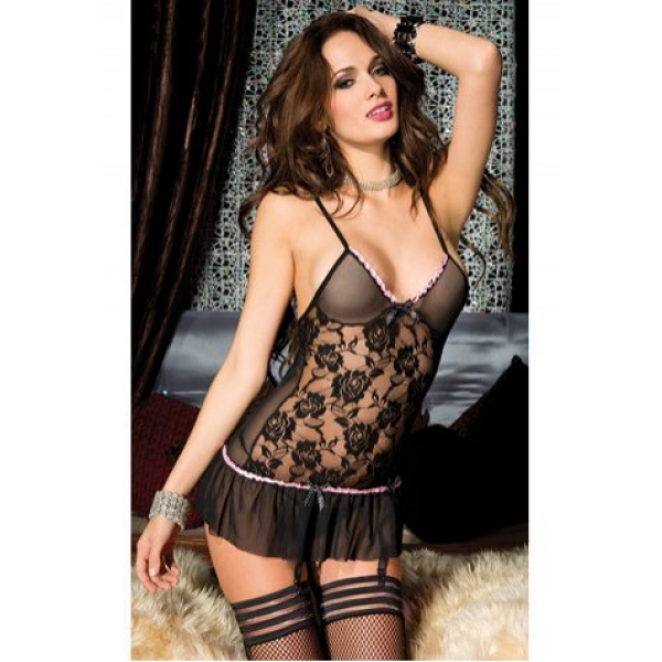**CELLY**Imported Flower Lace Black Chemise