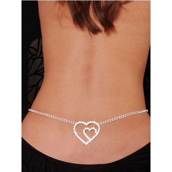 **CELLY** Imported Grace Double Heart Rhinestone Belly Chain Silver