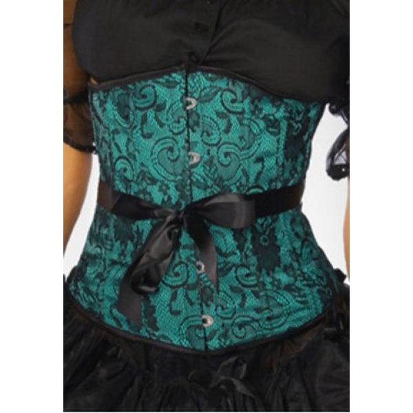 **CELLY** IMPORTED GREEN EMBROIDERED UNDERBUST CORSET