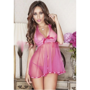 **CELLY** Imported Halter Babydoll with Satin Trim