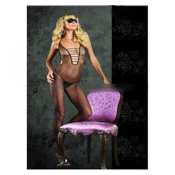 **CELLY** Imported Halter Fishnet Cut Out Bodystocking