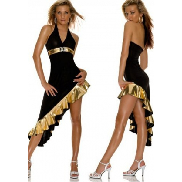 **CELLY** IMPORTED HALTER NECK LONG GOWN WITH ASYMMETRIC GOLD METALLIC..