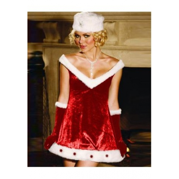 **CELLY** IMPORTED HOLIDAY VELVET DRESS WITH FUR TRIM AND JEWELS