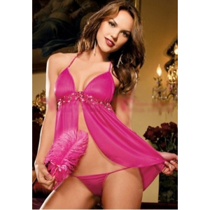 **CELLY** Imported Hot Pink Mesh and Sequin Babydoll