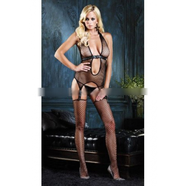 **CELLY** Imported Industrial Net Suspender Bodystocking W/ Faux Leath..