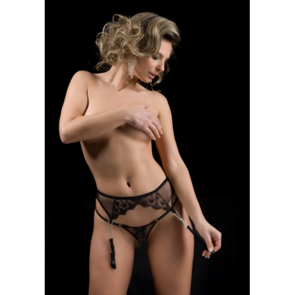 **CELLY** IMPORTED LACE GARTER (BLACK)