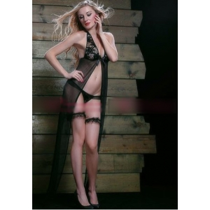 **CELLY** Imported Lace and Mesh Halter Flyaway Gown