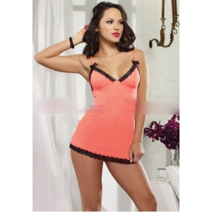 **CELLY** Imported Lace Trim Chemise and Thong