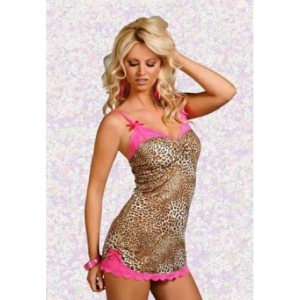 **CELLY** Imported Lace Trim Leopard Print Babydoll