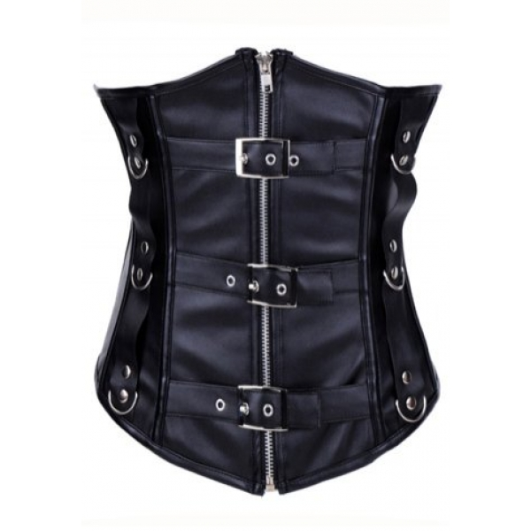 **CELLY** IMPORTED LEATHER BUCKLES ZIPPER UNDERBUST CORSET