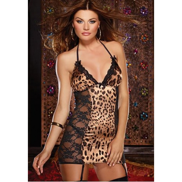 **CELLY** IMPORTED LEOPARD PRINT AND LACE CHEMISE WITH GARTERS
