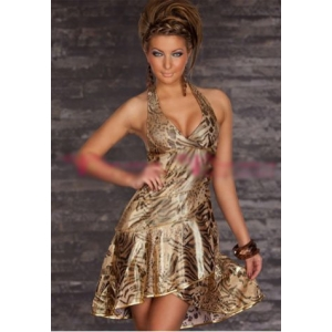 **CELLY** Imported Leopard Printed Blackless Mini Dress