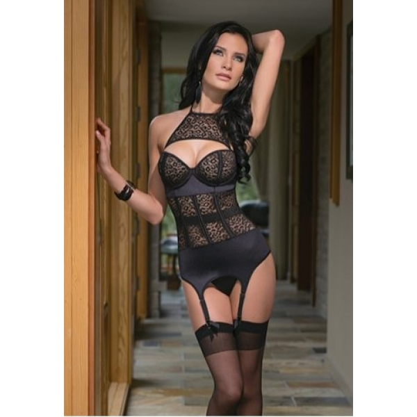 **CELLY** IMPORTED LIP PRINT CORSET WITH GARTERS