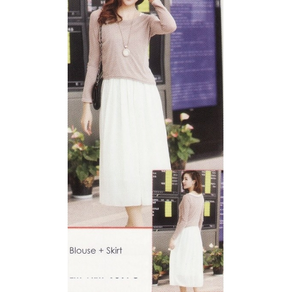 **CELLY**IMPORTED LONG SLEEVE BLOUSE + SKIRT