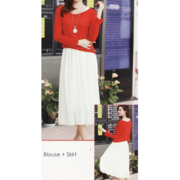 **CELLY**IMPORTED LONG SLEEVE BLOUSE + SKIRT (RED+WHITE)
