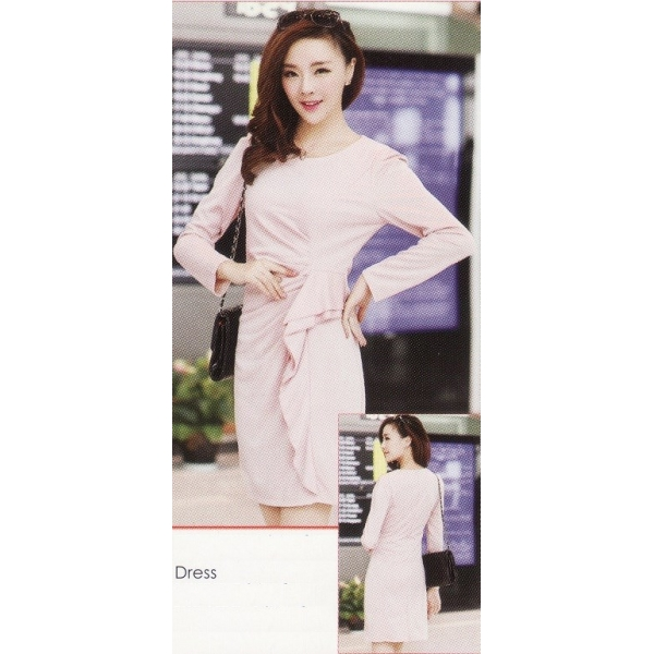 **CELLY**IMPORTED LONG SLEEVE DRESS (BEIGE)