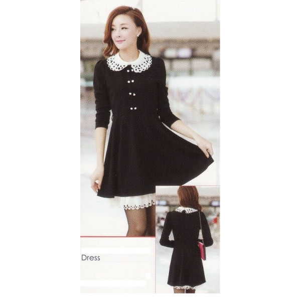 **CELLY**IMPORTED LONG SLEEVE DRESS (BLACK)