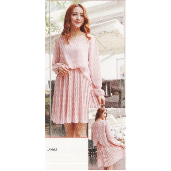 **CELLY**IMPORTED LONG SLEEVE DRESS (PINK)