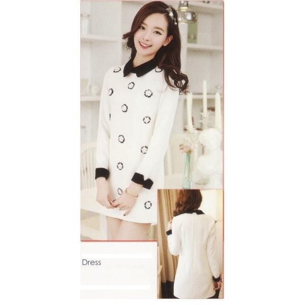 **CELLY**IMPORTED LONG SLEEVE DRESS (WHITE)